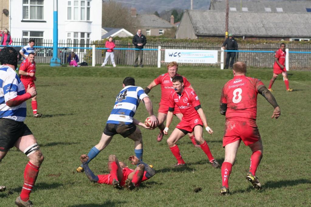Calvin Venn defending the line