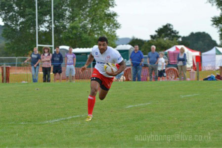 Flying Welshman Raymond Bishop scoring a try in the final utilising his blistering pace