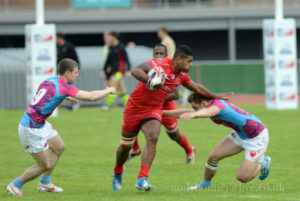 Pte Ratu Bulumakau brushing past Englands defence showing his pace and skills in the process