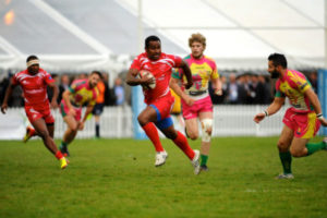 LCpl Joe Nayacavou showing his Scotland 7s experience cutting up the field