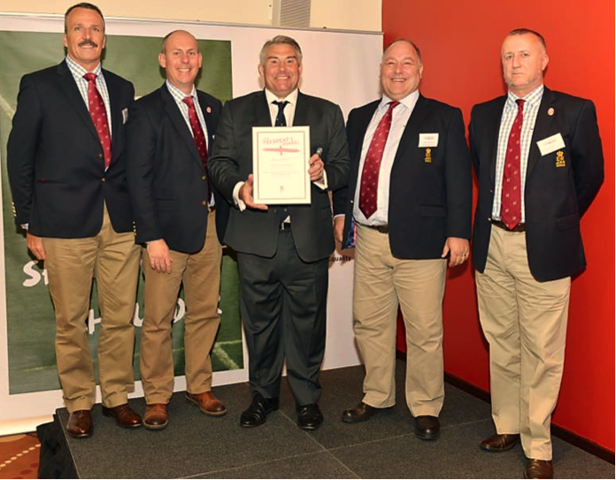The Appointments Team receiving their award from RFU President Jason Leonard OBE