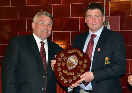 Matt receiving his award from the RFU President – Jason Leonard