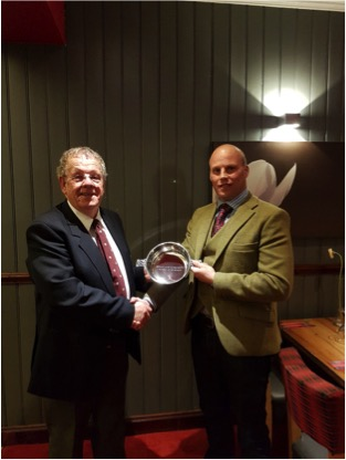 "Jimmy Fraser receiving his ""Referee of the Year"" Award from Highland Rugby Referees Association"