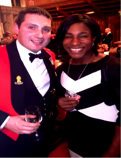 World Cup Winner Maggie Alphonsie promoting the ARURS membership pin badge or is it Roy asking her to buy him a drink?""