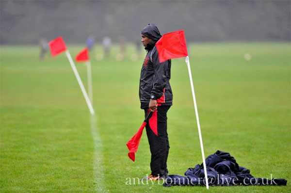 Refereeing can at times be a lonely job, especially when the rain comes down!