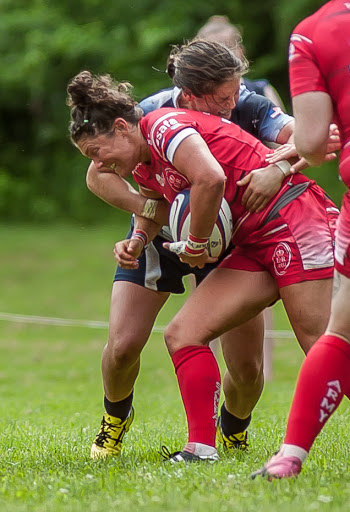 Capt Gemma Rowland - takes the tackle