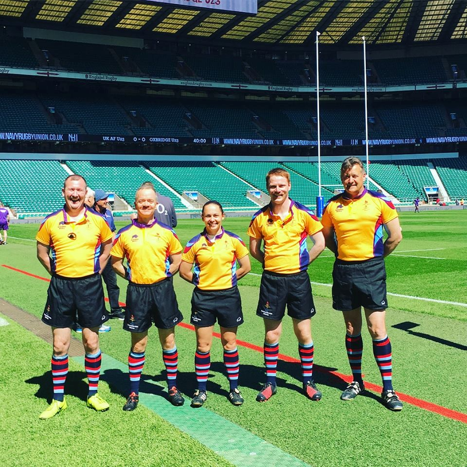 Lt Nikki O'Donnell QARANC takes charge of the men at Twickenham
