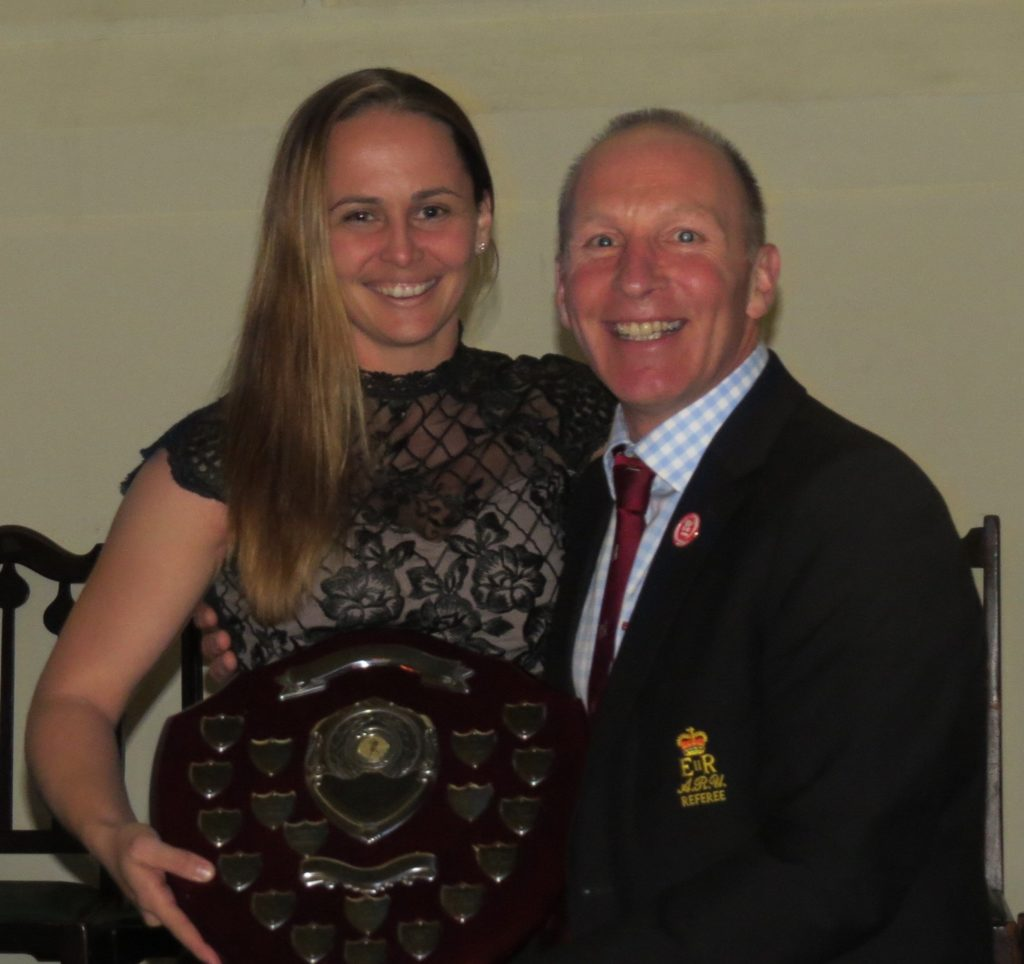 ARURS Referee of the Year, Nikki O'Donnell receiving her award from ARURS Chairman Lt Col Gary McDade